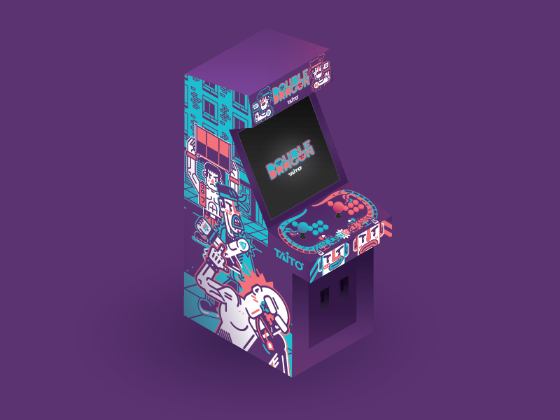 Double Dragon Arcade Cabinet fan art abobo jimmy billy games video purple dragon double arcade vector