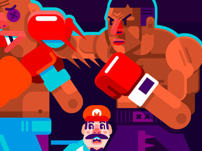 Punch Out fan art angry punch blue red purple mario box mike tyson vector nintendo