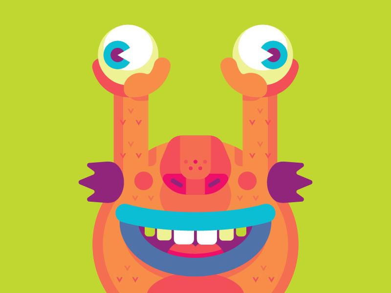 KRUMM happy green orange eyes monster krumm geometric vector nickelodeon