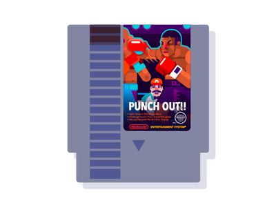 Punch Out!! (Nes Cartridge) box cartridge tyson nes nintendo geometric vector