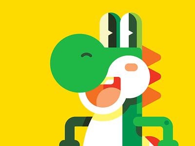 Yoshi video game cute yellow happy green yoshi nintendo geometric vector