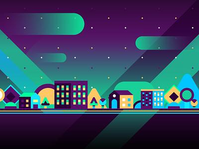 Ciudad Morada landscape city green blue yellow purple test geometric vector