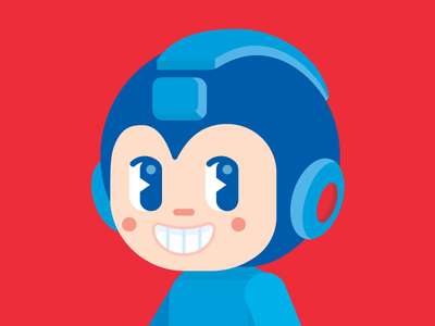 Megaman fan art blue happy red capcom geometric vector