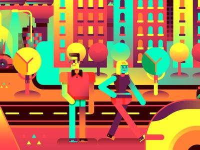 BMW — Human Augmentivity tree happy purple yellow gradients geometric vector people bmw