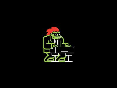 Blanka on Keyboards street fighter fan art black green keyboard instrument blanka monster geometric vector