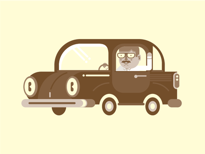 Don Señor oldie brown happy mister face car geometric vector