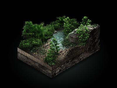 Selva digital isometric design retouching photoshop