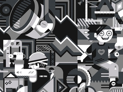 Mural Fundidora texture sad happy black  white geometric vector