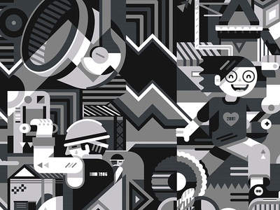 Mural Fundidora texture sad happy black  white geometric vector