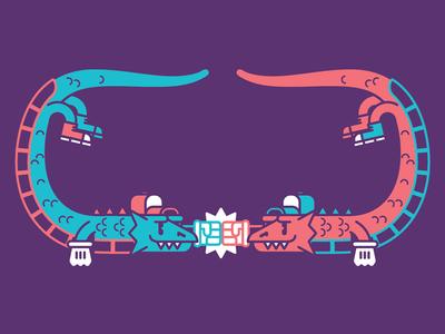 Dragones happy double dragon fan art videogame purple dragons bros cool geometric vector