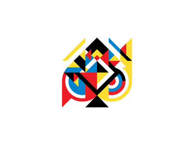 Ace of Spades illustration blue red yellow bauhaus geometric ace of spades vector