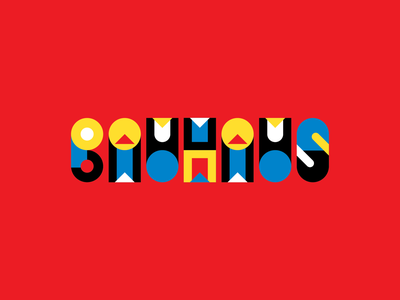 Bauhaus fun logo yellow red blue geometric vector