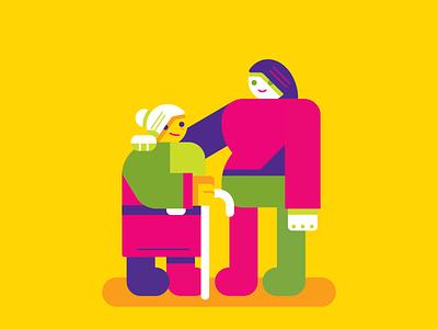 Hija y su señora madre love mother happy yellow geometric vector