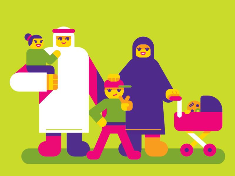 Familia Emirati happy cool cute baby emirati uae family geometric vector