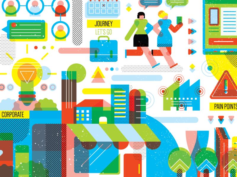CBD blue green business illustration bank store textures geometric vector