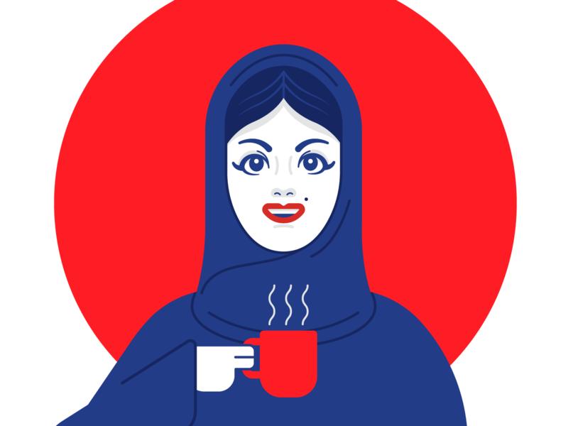 Abaya red blue cute eyes arabic abaya girl vector