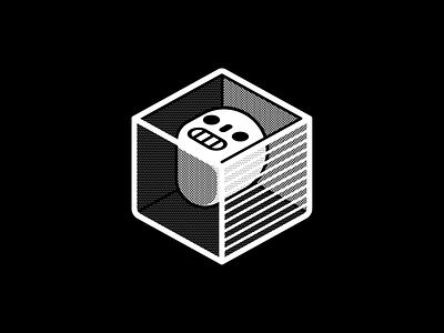 Freeze blackandwhite freeze cube skull vector geometric vectober inktober