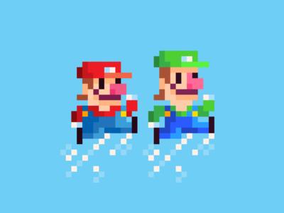 Hermanos Mario red green fun blue jump carnales bros videogames nintendo vector pixel