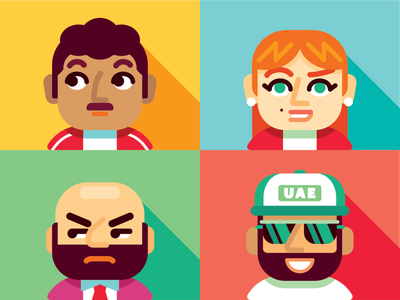 4 Mindsets (Avatars) green red blue yellow service design avatars people geometric illustration vector