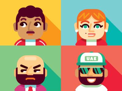 4 Mindsets (Avatars) green red blue yellow service design avatars people geometric illustration vector