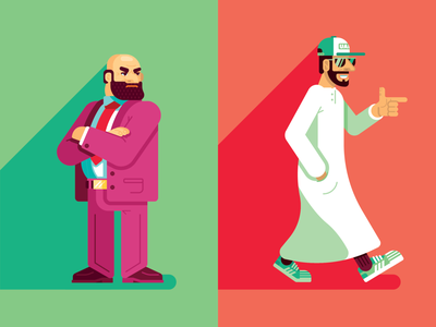 Mindsets (2/2) angry happy purple vector red green emirati uae mindsets characters persona