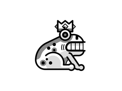 Enchanted black and white loco inktober vectober crown king frog geometric vector