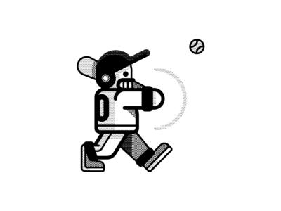 Swing ball vectober inktober skull swing baseball sports geometric vector