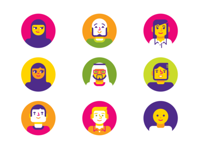 Avatars LS yellow green pink happy people uae emirati geometric vector avatar character