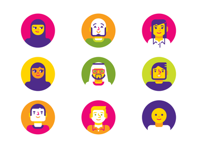 Avatars LS yellow green pink happy people uae emirati geometric vector avatar character