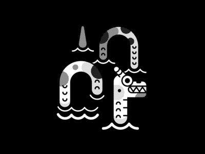 Dragon ghost duck skull helbetico black and white texture pattern geometric vector inktober2019 vectober2019