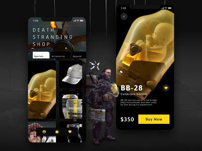 Death Stranding Fan App UI Concept ecommerce app shop game dayliui user interface figma dark ui dark app design ui design mobile concept ux iphone ios design app ui