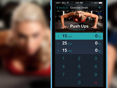 Gym Diary App Edit View iphone ios design app fitness gym ui dark