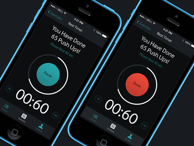 Timer for Gym Diary App design iphone timer ios black fitness app