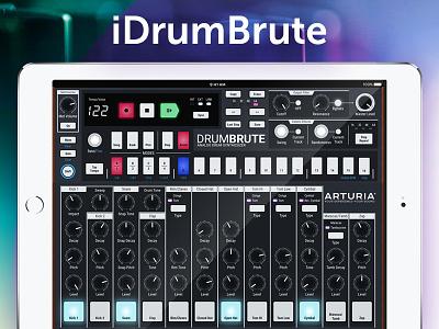 Arturia DrumBrute iPad concept + free Sketch file resources sketch arturia knobs ui analog app music drummachine ipad