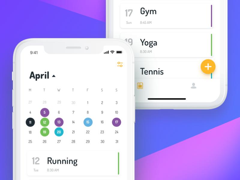 fitness schedule and progress tracker app by vladimir kondriianenko
