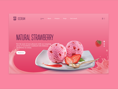 ICE CREAM - WEBSITE landing page icecream website concept website