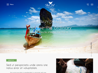 Thai24 tours and travels adobe xd website landing page
