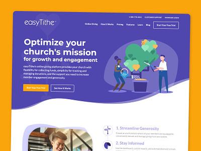 easyTithe Website Redesign and Rebrand vector website flat web ux ui design illustration