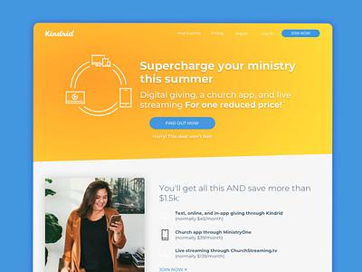 Kindrid   Landing Page Design ux marketing ui