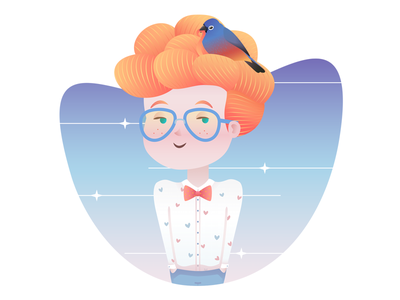 Bird Boy freckles glasses fabulous hair sweet character design illustration boy cute bird