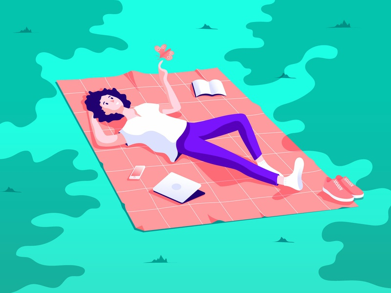 Moment of bliss chill meditate enjoy butterfly laydown park relax male clean flat vector character illustration