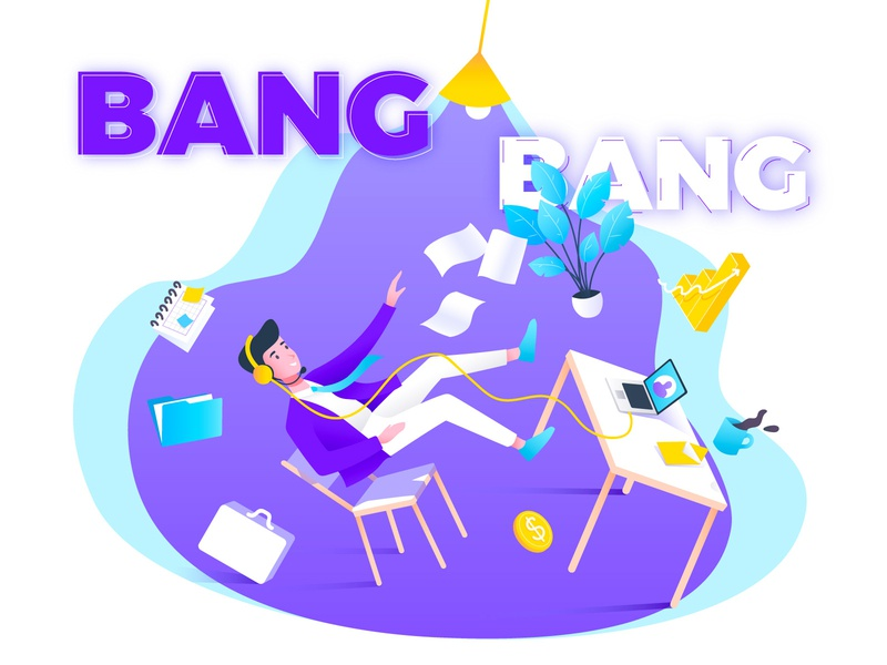 Bang! workflow purple creative float illustrator graphic  design office work design vector character illustration
