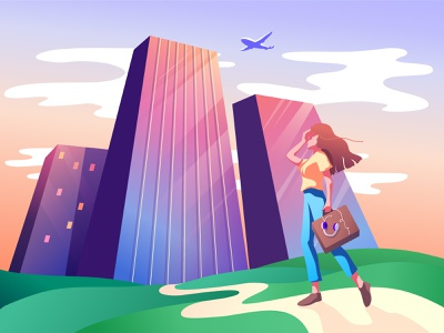 Aiming high achieve goal business work corporate sky airplane skyscraper building girl vector character illustration