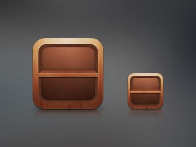 WIP icons wood ios app icon shelf
