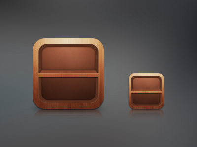 WIP icons wood ios app icon shelf