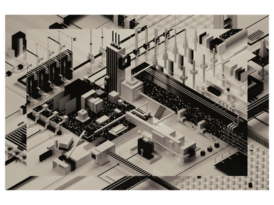 improvisation #04 black and white blender3d design illustration art abstract 3d