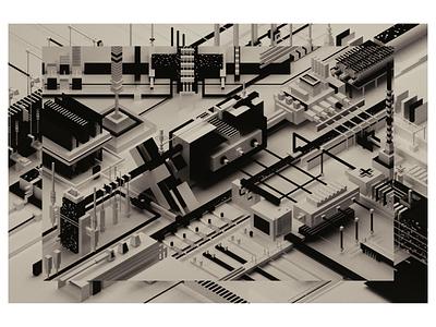 improvisation #06 black and white blender3d design illustration art abstract 3d