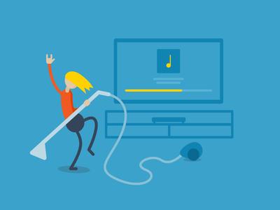 Vol-cuum UP! jamming music rock on vacuum cleaner vacuum cleaning flat illustration