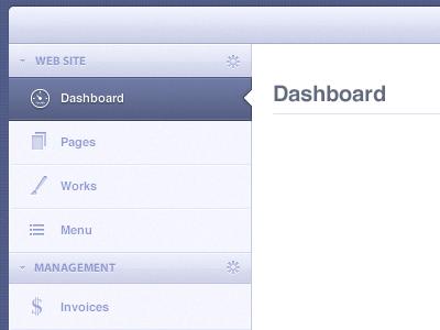 Menu cms menu dashboard icons blue