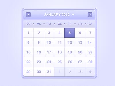 Calendar calendar contrast colors purple smooth soft white date date picker